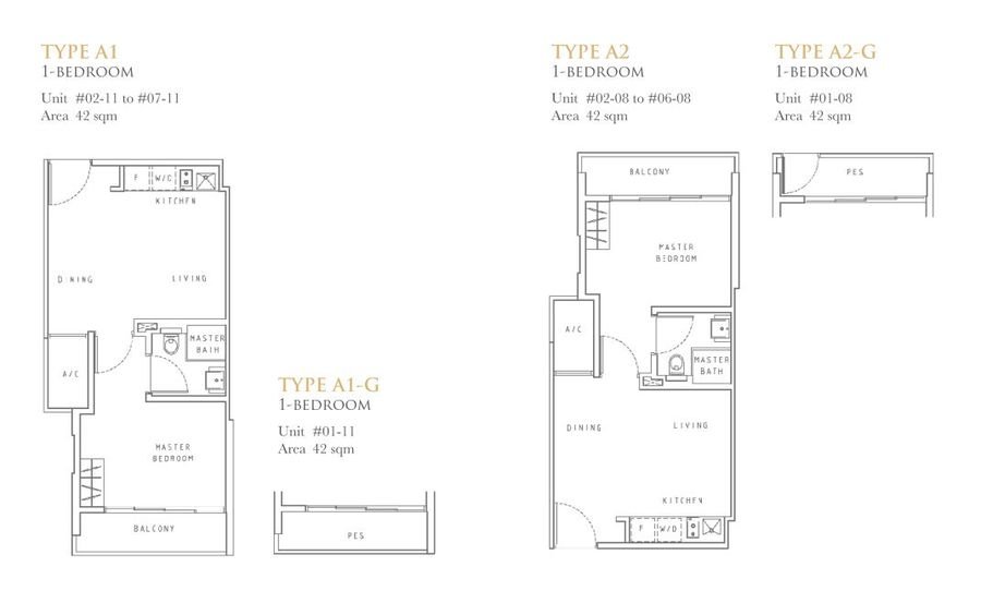 Liv on Wilkie Floor Plan Type A1 A2 A1G A2G