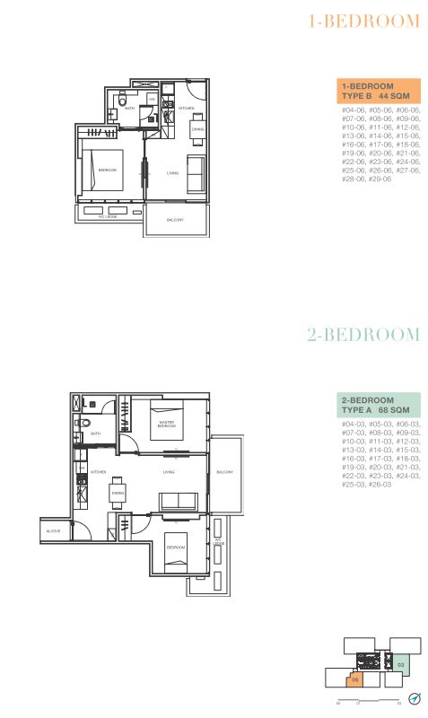 1 bedroom B and 2 bedroom A