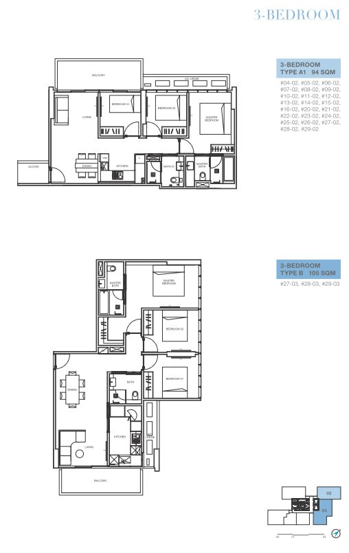 3 bedroom A1 and B