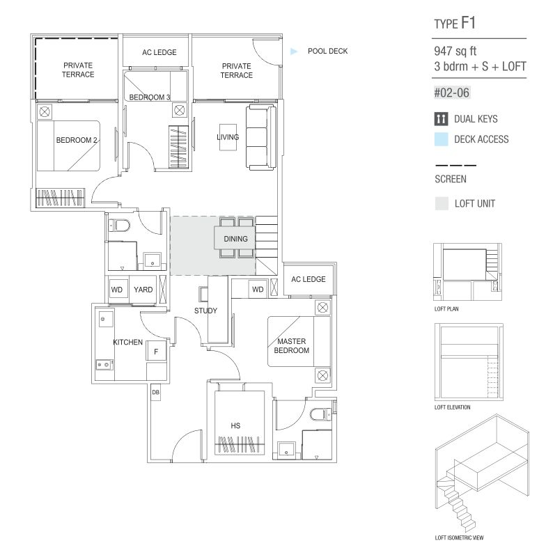 type F1 3 Bedroom and study and loft