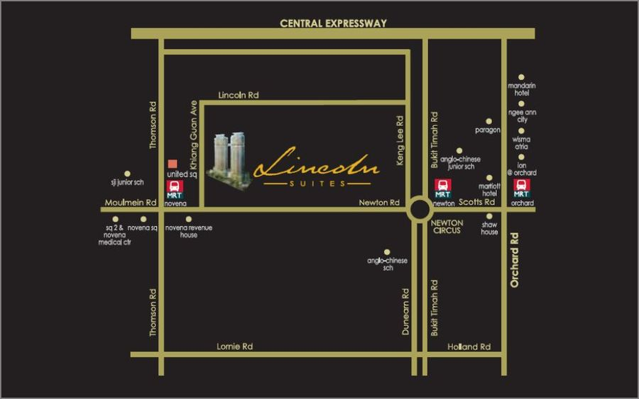 Lincoln Suites Location Map 900