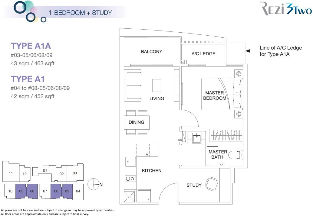 a1a a1 1-bedroom and study layout plan