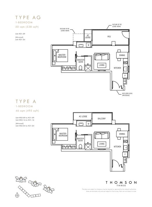 Thomson Three 1-bedroom unit types A and AG