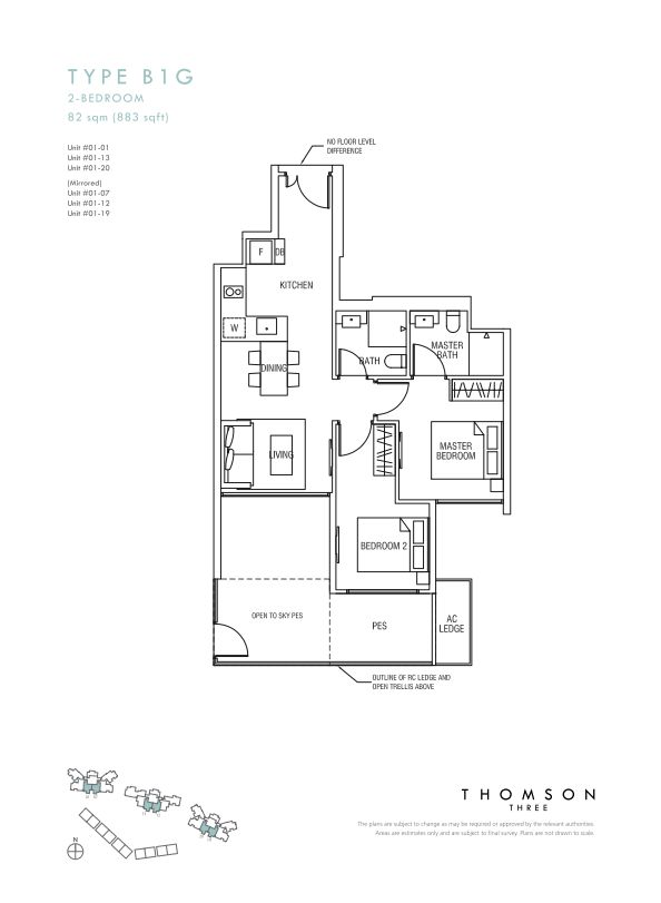 Thomson Three 2-bedroom unit type B1G