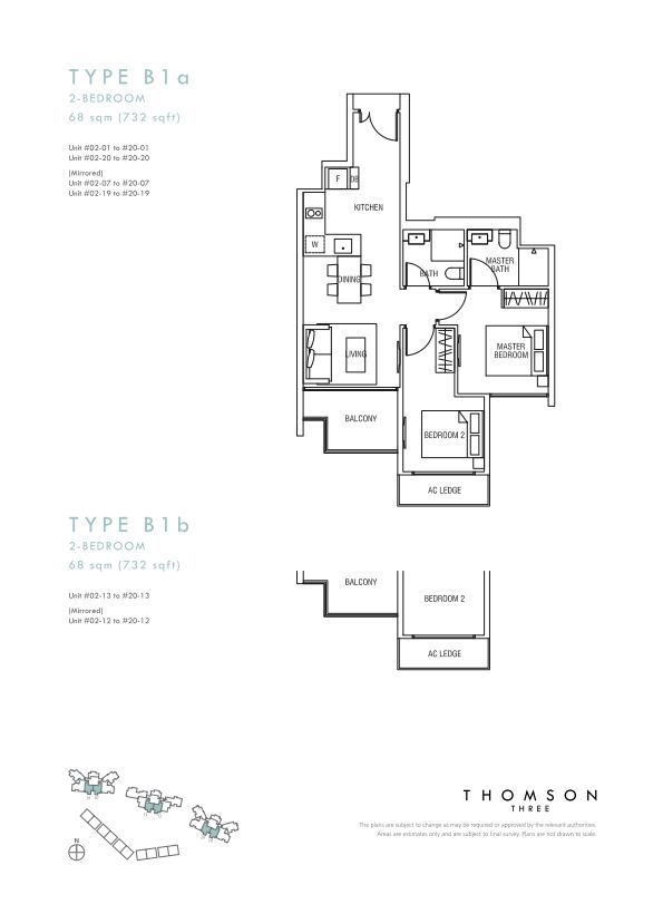 Thomson Three 2-bedroom unit type B1a and B1b