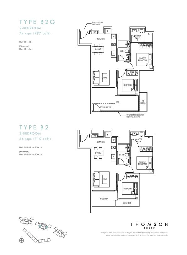 Thomson Three 2-bedroom unit type B2g and B2