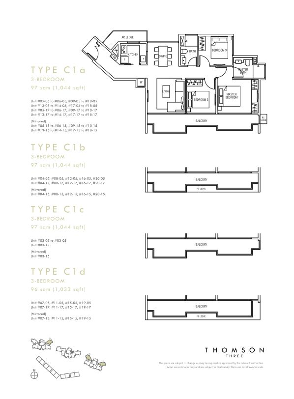 Thomson Three 3-bedroom unit type C1a C1b C1c C1d