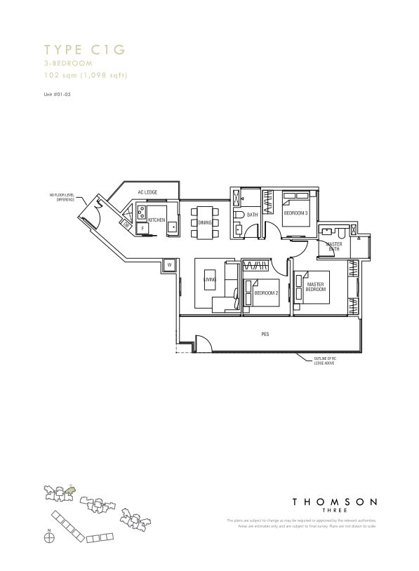 Thomson Three 3-bedroom unit type C1g