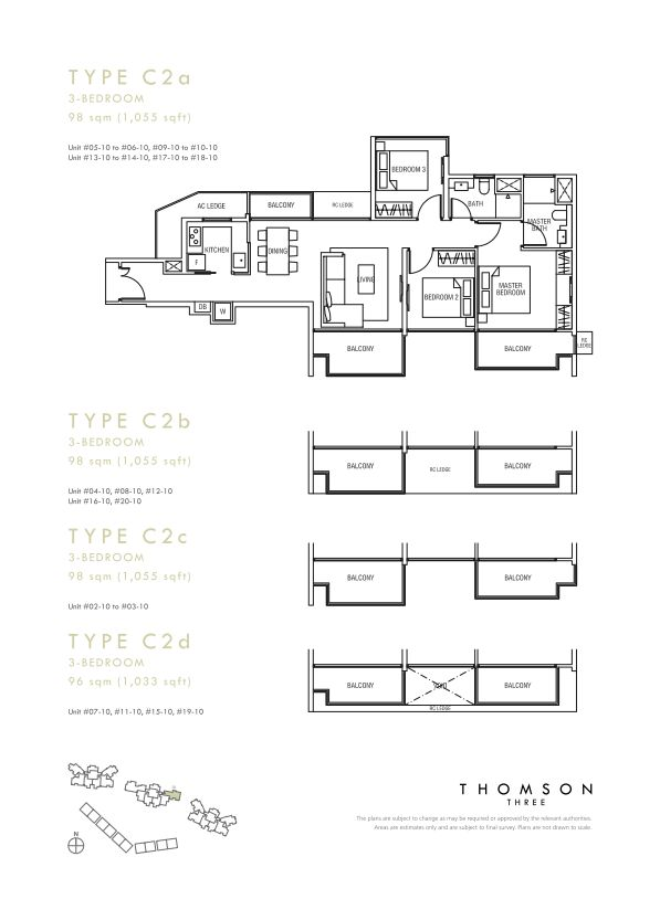 Thomson Three 3-bedroom unit type C2a C2b C2c C2d