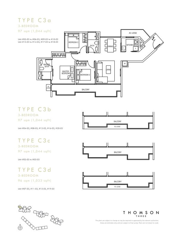 Thomson Three 3-bedroom unit type C3a C3b C3c C3d