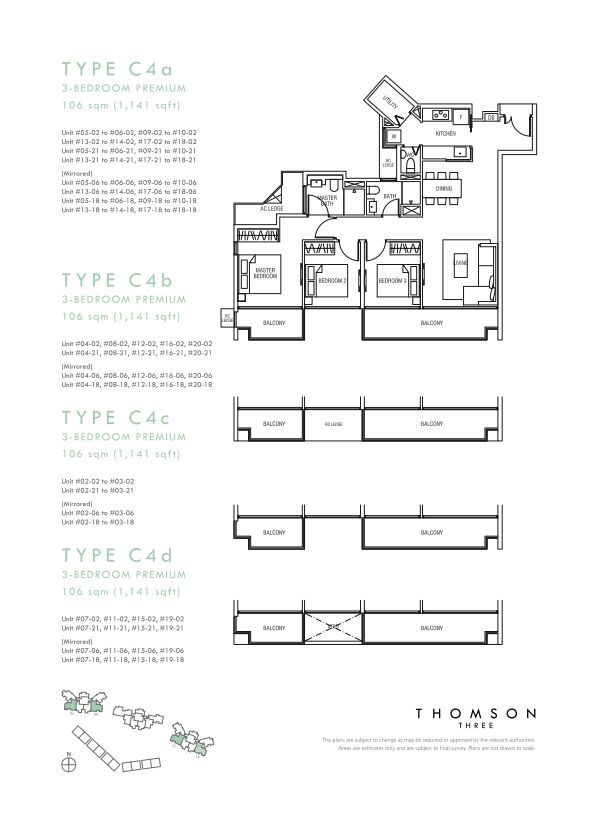 Thomson Three 3-bedroom unit type C4a C4b C4c C4d