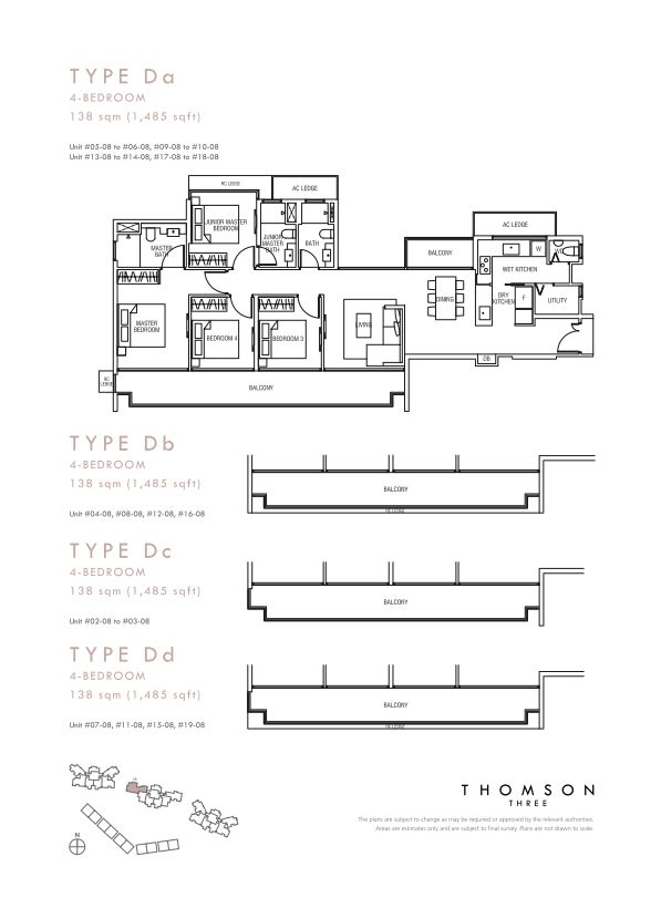 Thomson Three 4-bedroom unit type Da Db Dc Dd